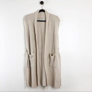 LOFT Sweater Vest Cardigan Womens Small Tan Cream